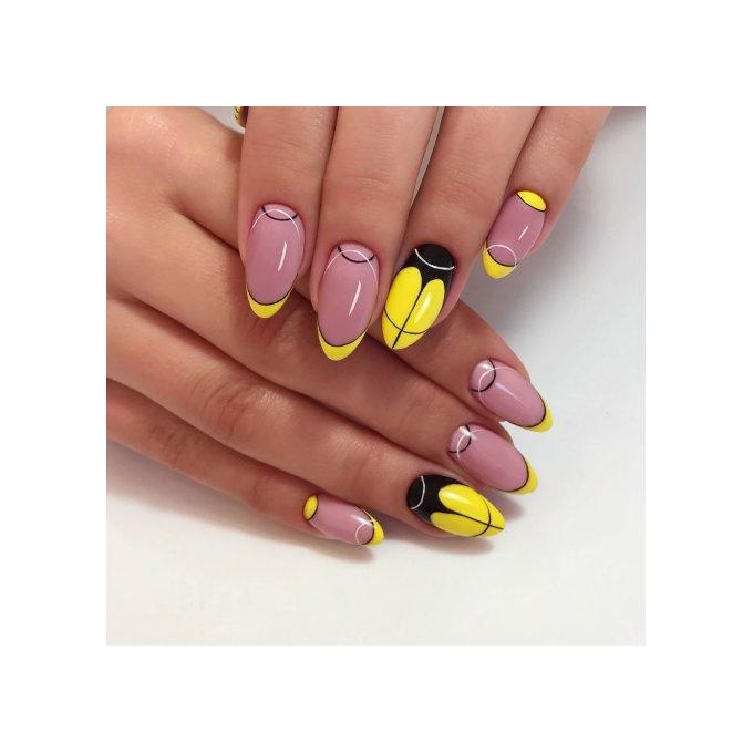 przykład paznokci hybrydowych wykonanych lakierami semilac 5 w 1